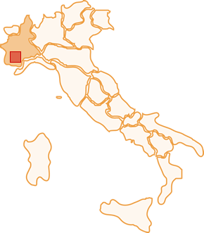 The map of Moscato d'Asti town halls